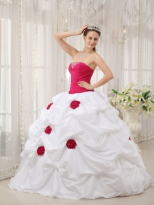Sexy Hot Pink and White Sweet 16 Dress Strapless Taffeta Hand Made Flower Ball Gown