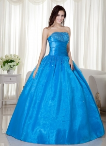 Sky Blue Ball Gown Strapless Floor-length Taffeta Beading Sweet 16 Dress