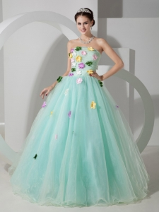 Sweet Apple Green Strapless Sweet 16 Dress Organza Hand Made Flowers Floor-length