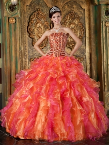 The Brand New Style Multi-Color Sweet 16 Dress Strapless Organza Beading and Ruffles Ball Gown