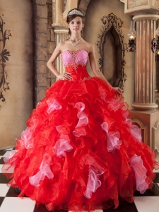 The Most Popular Red Sweet 16 Dress Strapless Organza Beading and Ruffles Ball Gown