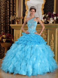 Wonderful Aqua Blue Sweet 16 Dress One Shoulder Satin and Organza Beading Ball Gown