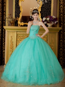 Affordable Turquoise Sweet 16 Dress Strapless Organza Beading Ball Gown