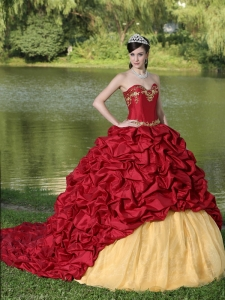 Appliques and Pick-ups Wine Red Brush Train Exquisite Style For 2013 Sweet 16 Dress