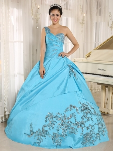 Baby Blue Sweet 16 Dress One Shoulder With Appliques and Beading 2013