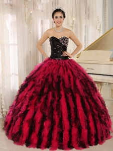 Beaded and Ruffled Sweetheart For Black and Hot Pink Sweet 16 Dress In Kihei City Hawaii