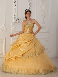 Beautiful Gold Sweet 16 Dress Sweetheart Taffeta and Organza Beading A-Line