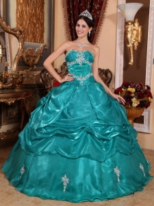 Brand New Turquoise Sweet 16 Dress Strapless Organza Appliques Ball Gown