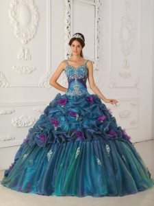 Classical Teal Sweet 16 Quinceanera Dress Straps Chapel Train Organza Ball Gown