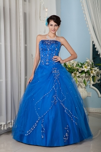 Customize Royal Blue 15 Sweet 16 Dress / Princess Strapsless Tulle Floor-length