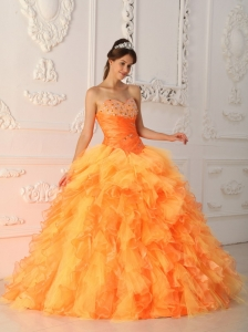 Elegant Orange Red Sweet 16 Dress Sweetheart Organza Beading and Ruch Ball Gown