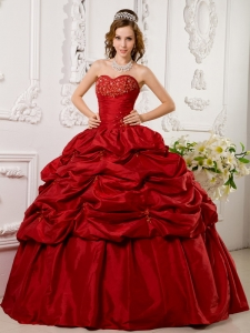 Elegant Red Sweet 16 Quinceanera Dress Sweetheart Tafftea Appliques Ball Gown