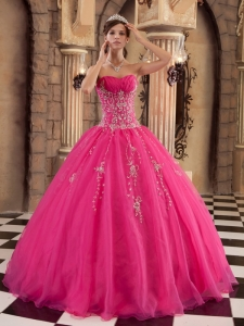Exquisite Hot Pink Sweet 16 Quinceanera Dress Organza Beading Ball Gown