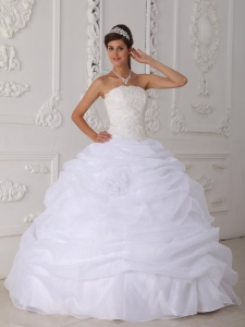 Gorgeous White Sweet 16 Dress Strapless Floor-length Organza Lace Ball Gown