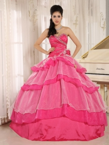 Hot Pink Sweetheart Beaded Decorate and Ruch Bodice Ruffled Layeres Rosario Sweet 16 Dress In 2013