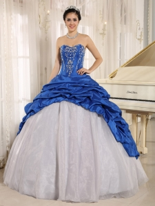La Plata City Luxurious Blue and White Sweet 16 Dress With Embroidery Sweetheart Pick-ups 2013