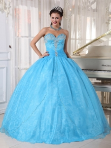 Lovely Baby Blue Sweet 16 Dress Sweetheart Taffeta and Organza Appliques Ball Gown