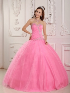 Lovely Rose Pink Sweet 16 Dress Sweetheart Tulle Appliques Ball Gown