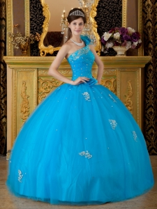 Low Price Sweet 16 Dress Teal One Shoulder Tulle Appliques Ball Gown