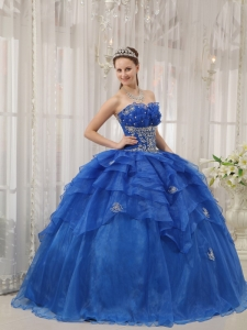 Luxurious Royal Blue Sweet 16 Dress Strapless Organza Beading Ball Gown