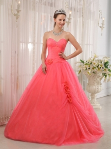 Modest Watermelon Red Sweetheart Tulle Beading Sweet 16 Dress Ball Gown