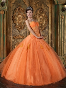 Orange Organza Sweetheart Floor-length Appliques Sweet 16 Dress Under 200