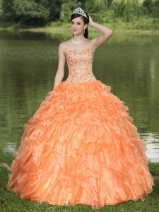 Orange Sweet 16 Dress Clearance With Sweetheart Beaded Ruffles Layered Decorate Organza