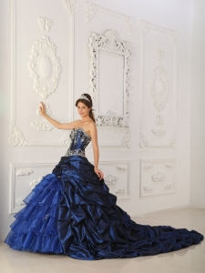 Perfect Royal Blue Sweet 16 Dress Sweetheart Chapel Train Taffeta and Organza Appliques Ball Gown