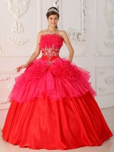 Romantic Red Sweet 16 Quinceanera Dress Strapless Taffeta and Organza Ball Gown