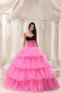 Rose Pink Sweetheart Beaded and Layers Ball Gown Sweet 16 Dress Taffeta and Organza