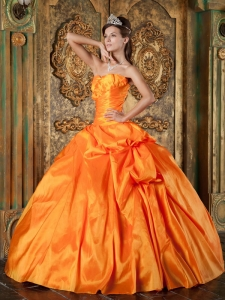 Sweet Orange Sweet 16 Quinceanera Dress Sweetheart Taffeta Appliques Ball Gown
