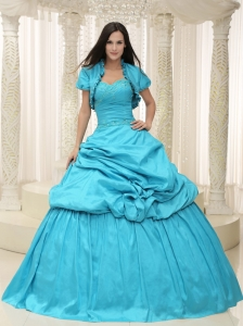 Teal Taffeta Sweetheart Appliques Lace Up For Sweet 16 Quinceanera Dress
