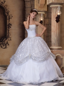 The Super Hot White Sweet 16 Dress Strapless Pick-ups Sequins Ball Gown