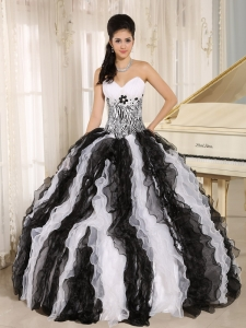 White and Black Ruffles Sweet 16 Dress With Appliques Sweetheart For Custom Made In Honolulu City Hawaii