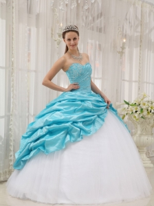 Affordable Aqua Blue Sweet 16 Dress Sweetheart Taffeta and Tulle Beading Ball Gown