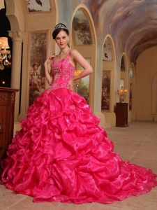 Beautiful Hot Pink Sweet 16 Dress Spaghetti Straps Organza Embroidery Ball Gown