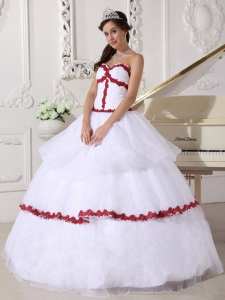 Best White and Wine Red Sweet 16 Dress Sweetheart Organza Appliques Ball Gown