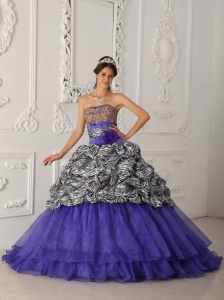 Brand New Purple Sweet 16 Dress Strapless Chapel Train Zebra and Organza Ball Gown