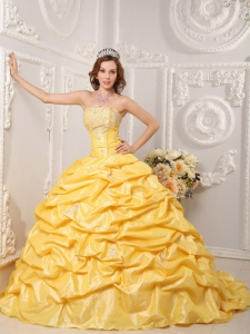 Brand New Yellow Sweet 16 Dress Strapless Court Train Taffeta Appliques and Beading Ball Gown
