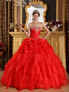 Cheap Red Sweet 16 Dress Sweetheart Organza Appliques with Beading Ball Gown