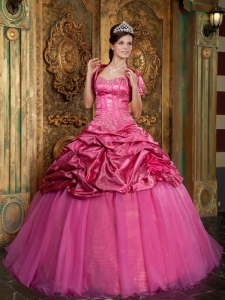 Classical Hot Pink Sweet 16 Dress Sweetheart Taffeta and Organza Appliques Ball Gown