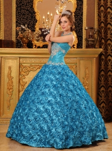 Classical Sky Blue Sweet 16 Dress Sweetheart Fabric With Rolling Flowers Appliques Ball Gown