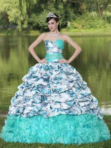Colorful Printing and Organza Beaded Decorate Waist Pick-ups and Ruffles Brush Train Lovely Style For 2013 Sweet 16 Dress