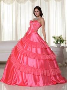 Coral Ball Gown Strapless Floor-length Taffeta Embroidery Sweet 16 Dress
