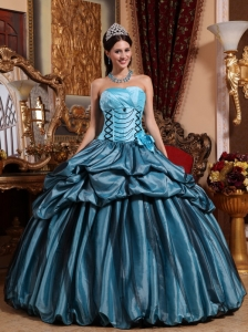 Cute Blue Sweet 16 Dress Strapless Taffeta Hand Made Flower Ball Gown