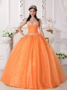 Cute Orange Sweet 16 Dress Strapless Taffeta and Organza Appliques Ball Gown