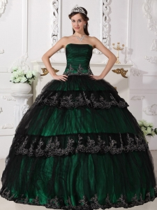 Dark Green Sweet 16 Dress Strapless Taffeta and Tulle Appliques Ball Gown