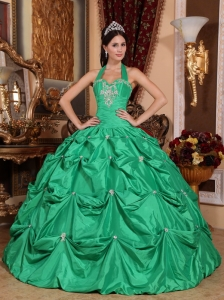 Exclusive Green Sweet 16 Dress Halter Top Taffeta Appliques Ball Gown