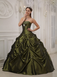 Exquisite Olive Green Sweet 16 Dress Strapless Taffeta and Satin Beading Ball Gown