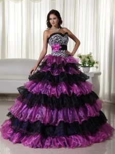 Fashionable Ball Gown Sweetheart Floor-length Organza Beading Sweet 16 Dress